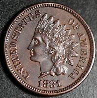 1881 INDIAN HEAD CENT - With LIBERTY & DIAMONDS - AU UNC Details