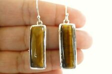 Brown Tigers Eye Solitaire 925 Sterling Silver Dangle Drop Earrings