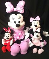 """Disney Authentic Minnie Mouse BIG Pink Plush Toy 24"""" Soft Doll + 3 more Minnie's"""