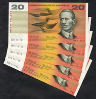 Australia R-401.  (1966) Coombs/Wilson - 20 Dollars.. UNC - CONSECUTIVE Run of 5