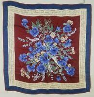 Vintage Vena 100% Silk Floral Scarf Blue Red 31 x 31 Made in Japan