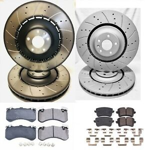 Drilled & Slotted F&R (Audi OEM Fronts) Rotors w/Ceramic Pads (400mm/356mm)