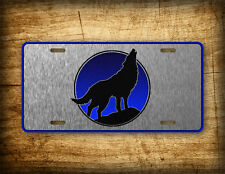 Wolf Call of the Wild License Plate Coyote Howling Auto Tag Dog Nature Moonlight