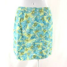 Lilly Pulitzer Mini Skirt Cotton Fans Floral Blue Green Size 4