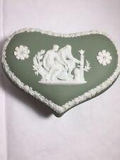 Wedgewood Green Heart Shaped Box