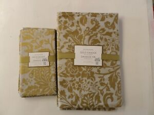 NEW Williams Sonoma Gold Damask Dinner Napkins & Placemats Gold/Grey