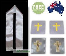 White sash/ stole with applique cross, Ribbon, communion & Baptism/ Christening