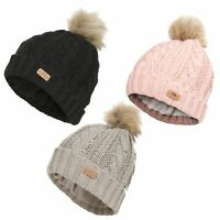 Trespass Lillia Womens Fur Pom Pom Beanie Warm Winter Hat in Pink Black Grey