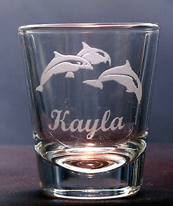 Dolphin Shot Glass Personalized Engraving with name under design