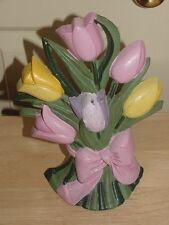 Vintage Cast Iron Doorstop Tulips Flowers Bouquet Pink Yellow Purple Green 9 3/4