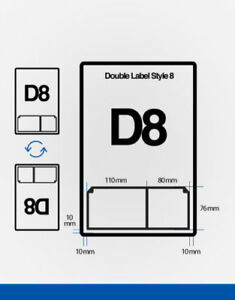 Double Integrated Labels D8 A4 Stickers Ebay Invoice 110X76 80x76 mm - 1000