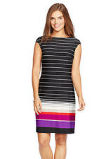 American Living Wear to Work Cap Sleeves Multi-Color Striped Shift Dress Sz 16