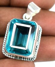 925 Sterling Silver 42.40 Ct Emerald Cut Sky Blue Topaz Pendant Free Chain Z5013