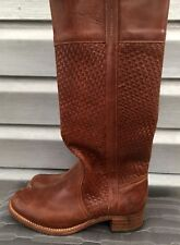 FRYE Samantha Brown Woven Leather Knee High Basket Weave Boots SOLD OUT!!