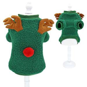Cute Dog Cat Christmas Outfit Warm Fleece Vest Sweater Pet Pajamas Clothes XS-M