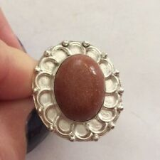 NEW Unworn Sterling Silver Marked 925 Genuine Goldstone Statement Ring Size 8