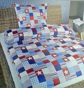 2tlg.leichte Bed Cover Check Stars 135 x 200 Microfibre