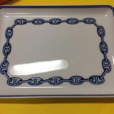 Hermes Paris Authentisch Platte Kette D'Ancre Blau Aschenbecher Porzellan