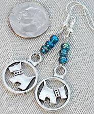 "Scotty Dog Yorkie West Highland Terrier Westie Earrings 2"" Teal Glass Beads"