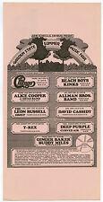 1972 ALICE COOPER Kinks ALLMAN BROTHERS T Rex BEACH BOYS Concert Handbill