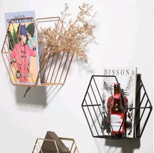 3 Colors Wall Hanging Iron Newspaper Shelves Magazine Storage Rack Bookshelf