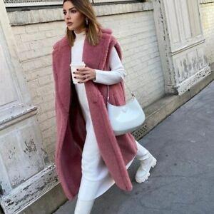 2021 Women Real Wool Teddy Vest Thick Warm Winter 100% Lamb Fur Waistcoat 33578