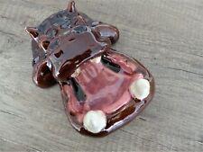 Magnifique Original Ancien VIDE POCHE Barbotine Zoomorphe Hippopotame ART DECO