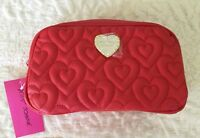 Betsey Johnson Makeup Cosmetics Bag Loaf Red Quilted Puffy Hearts Retail $48