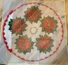 Poinsettia Christmas Tree Skirt Latch Hook Bucilla - Kit is OPEN