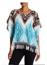 Alberto Makali Fringe Tunic Blouse Top Tribal Western Print Women's sz XS $149