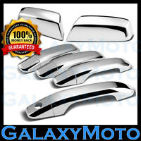14-15 Chevy Silverado Crew Cab Triple Chrome TOP Mirror+4 Door Handle 1/KH Cover