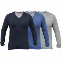Mens Jersey Top Brave Soul Long Sleeved T Shirt Roll Up Plain V Neck Cotton New