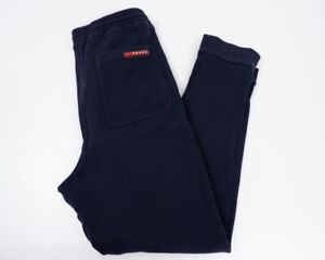Prada Mens Pants Joggers Tracksuit Bottoms Size Small S Navy Blue Slim Fit