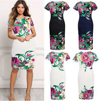 UK New Womens Boho Floral Summer Beach Long Skirt Evening Cocktail Party Dress