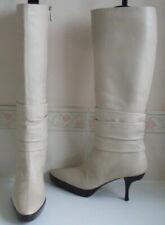 BALLY Switzerland Nude Leather Platform Knee High Boots Size EU 36.5 UK 3.5 US 6
