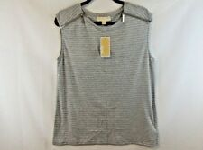 Michael Kors Women Medium Top Gray Striped in White So Soft Small Hole $12 NWT