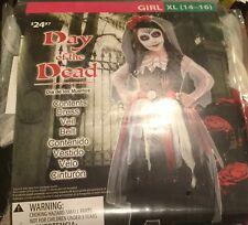 New Goodmark Girl Day of the Dead Costume Dress Veil Belt Xl 14 16