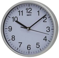 "SILENT SWEEP WALL CLOCK BY UNITY RADCLIFFE CLOCK IN SILVER AND WHITE 8"" 20CM"