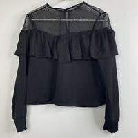 Express Crop Top XS Black Lace Shoulders Long Sleeve Key Hole Back Ruffle V