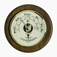 """WEATHER INSTRUMENTS - """"PORTSMOUTH"""" BAROMETER W/ THERMOMETER ON CHERRY WOOD BASE"""