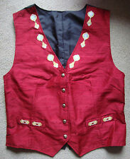 LADIES EXCLUSIVE ONE OF A KIND SILK EMBROIDERED WAISTCOAT BURGANDY - 12-14 - NEW