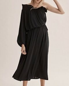 COUNTRY ROAD ONE SHOULDER DRESS IN BLACK SIZE MEDIUM NWT