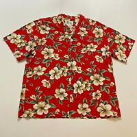 Vintage Kys Hawaiian Shirt Size XL Red Floral Mens Made In Hawaii 100% Cotton