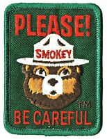 """S14 - Smokey Bear """"Please Be Careful"""" 1996 Embroidered Patch NEW in bag - Smoky"""