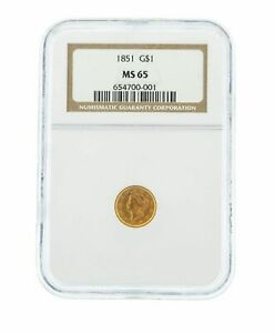 1851 G$1 NGC MS 65 One Dollar Liberty Head Gold Coin