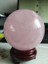 110MM Natural Pink Rose Quartz Magic Crystal Healing Ball Sphere + Stand
