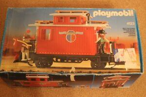 Playmobil waggon train 4123 Caboose vintage boite flyer rare *******
