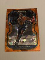 🔥2020-21 Panini Prizm Basketball Myles Turner Orange Cracked Ice #240 Pacers