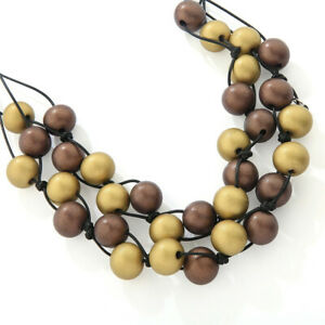 Burnished Berries Wooden Balls Necklace Gold and Coffee from Timeless Season