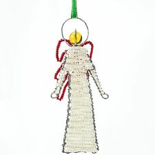 Pearl African Handmade Maasai Bead Wire Christmas Angel Ornament